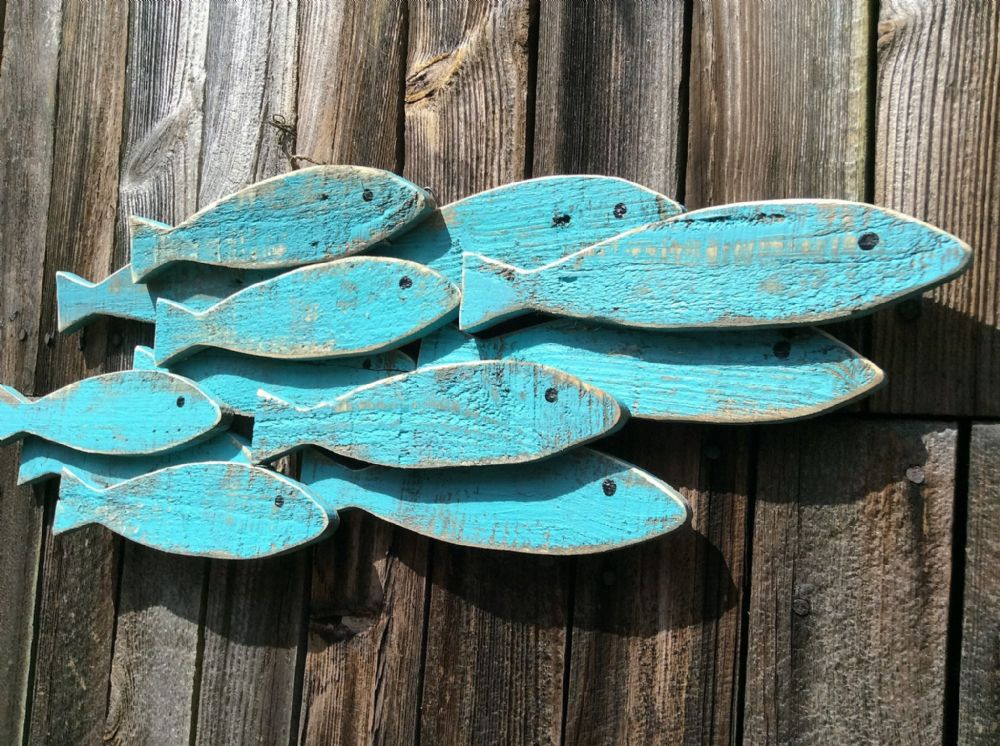 Distressed Aqua Large Fish Shoal Wooden Coastal Wall Art